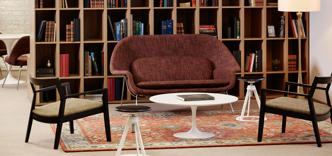 Womb Settee with Krusin Lounge Chair and Piton Stool and Saarinen Coffee Table