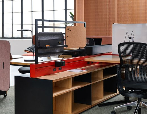 knoll design days fulton market antenna workspaces antenna power beam floorstanding storage ladder screen beam regeneration by knoll sparrow workstation