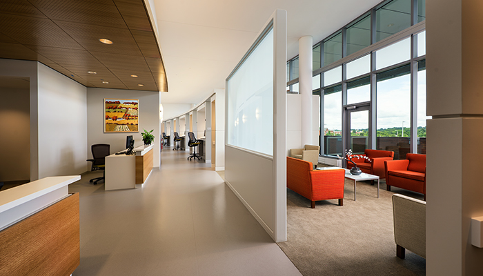 Patient reception and registration area with Krefeld Lounge, Life® Chairs and ReGeneration by Knoll® High Task Chairs
