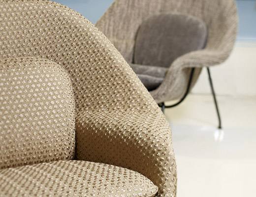Keats upholstery by Rodarte for Knoll Luxe on Saarinen Womb chair