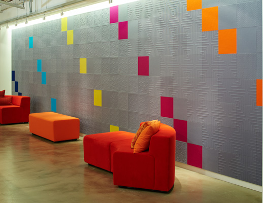 NeoCon 2015 showroom k lounge Impressions acoustic tiles KnollTextiles
