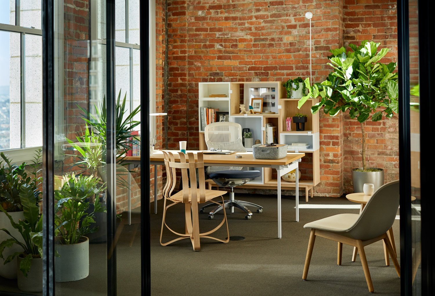 antenna workspaces desk generation task chair risom side table frank gehry hat trick chair muuto fiber lounge chair with wood base stacked storage system restore tray leaf lamp san francisco showroom private office