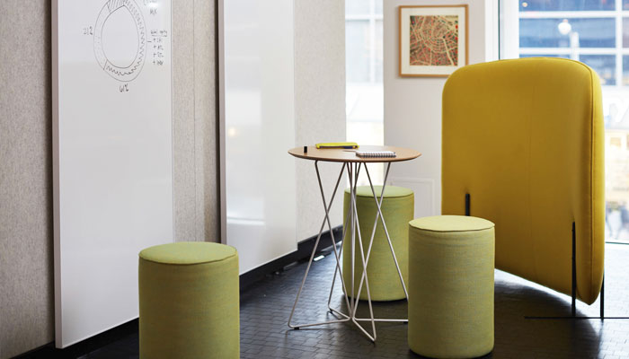 Rockwell Unscripted® Stools, Table and Puffy Screen
