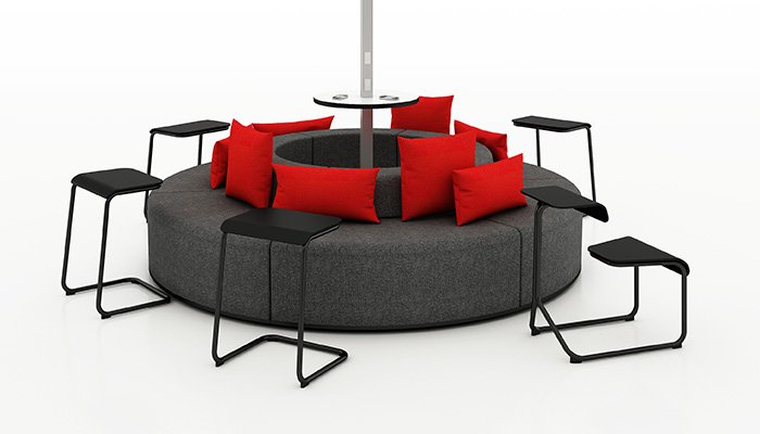 k.™lounge with Interpole™ and Toboggan<sup>®</sup>Multipurpose Chairs and Pull-Up Tables