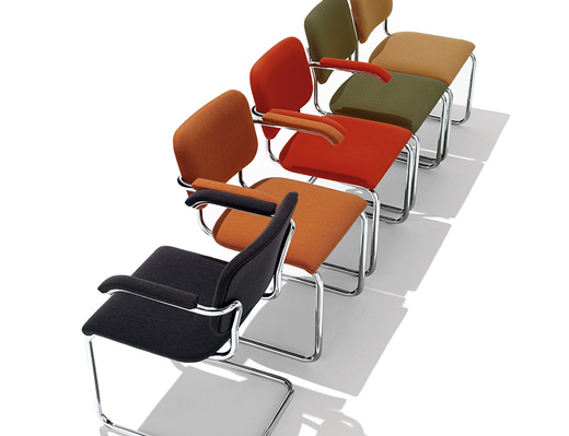 Marcel Breuer Cesca side chairs upholstered