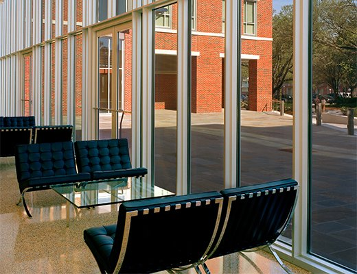 Mies van der Rohe Barcelona Lounge Chair with Glass Metal Table