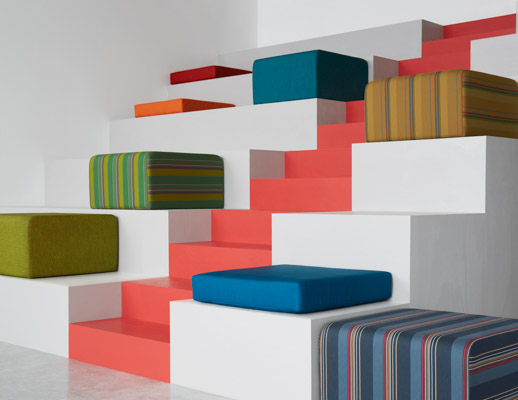 Stripemania, Brigadoon and Color Field Upholstery on Knoll k. lounge