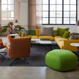 knoll design days fulton market barber osgerby Pilot Lounge Chair piton stool muuto pouf outline sofa saarinen side table butler table lounge area community space