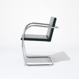 Knoll Mies black leather Tubular Brno Chair