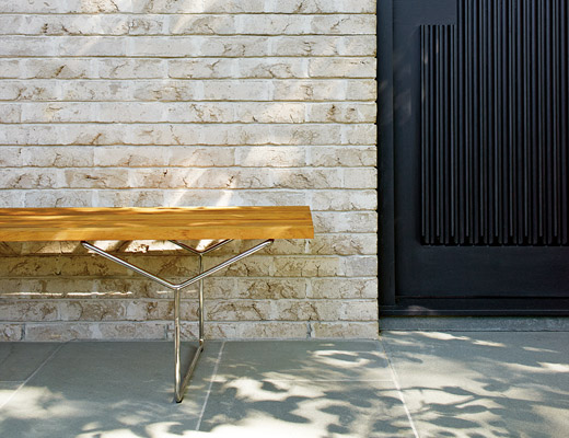 Knoll Bertoia Bench in Teak for outdoor use