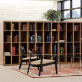 Knoll Essentials anchor storage open lockers Barcelona table Krusin lounge chair Krefeld lounge settee Saarinen Executive Armless chair Dividends Horizon table Community Space Activity Space Library