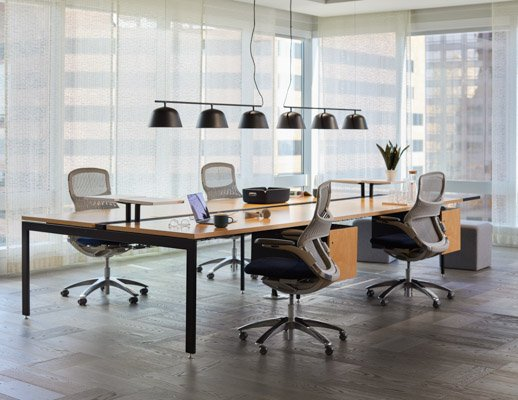 Antenna Big Table wide end leg suspended wood file pedestal storage cantilever shelf Birch plywood Generation by Knoll task work chair light frame k. lounge stool Muuto Ambit Rail lamp lighting Restore Basket tray accessories shared spaces collaboration t