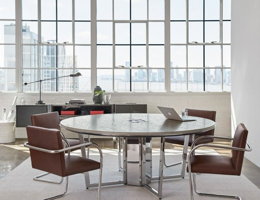 DatesWeiser Highline Round Meeting Table with Table- top Technology