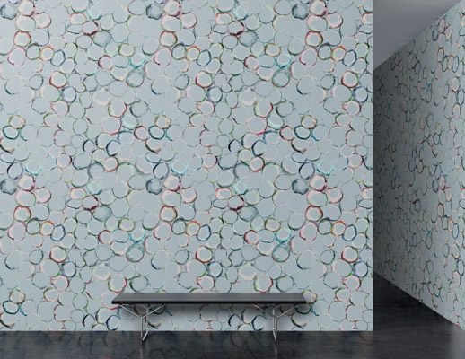 atmosphere collection july 2018 trove knolltextiles  wallcovering surround kaleidescope recycled glass hospitality large scale pattern polyester cellulose backing organic nature TPO bleach cleanable