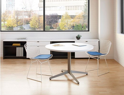 Dividends Horizon low meeting table with Bertoia side chairs