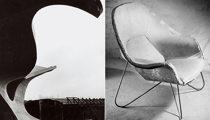 Left: TWA Flight Center under construction. Right: A prototype Womb Chair under construction.
