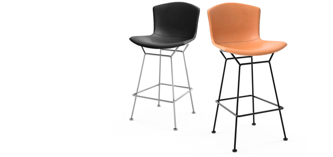 Harry Bertoia Leather-covered Barstool by Knoll