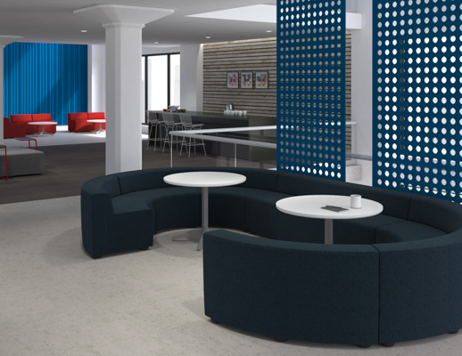 Activity Spaces community work lounge coffee bar pantry break area social space corridor bench ottoman Toboggan pull up table Dividends Horizon x base table FilzFelt hanging panel acoustic wall Bertoia Barstool