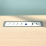 Drop-In Electrical Outlet, 412, White Body/Silver Bezel