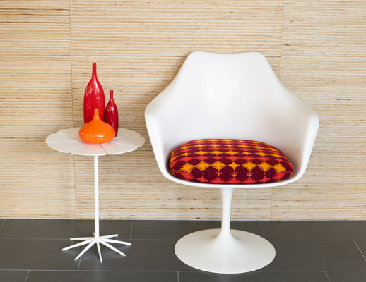 Balance Wit March 2016 Pattern Orange Red Saarinen Tulip White Upholstery