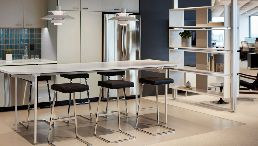 Knoll Shared Spaces Community Space With Antenna Tall Table and Four Seasons Stools