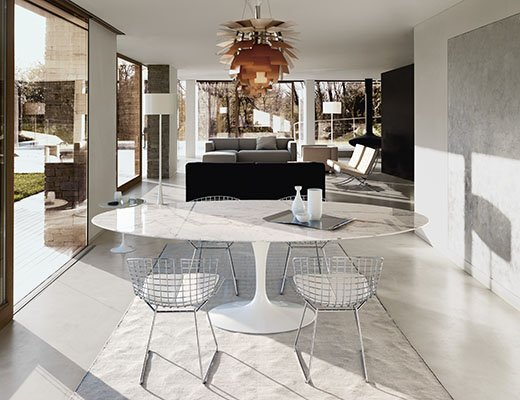 Knoll Saarinen Dining Table with Bertoia Side Chairs