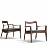 Knoll American Walnut Krusin Lounge Chair with Torello leather