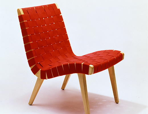 Jens Risom Red Webbed Armless Lounge Side Chair