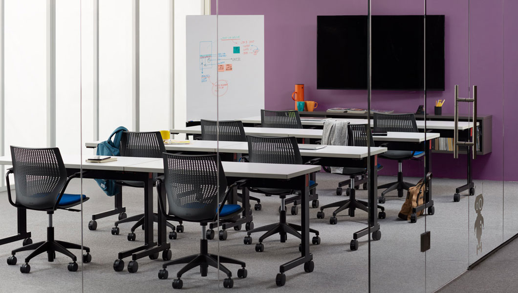 Knoll Shared Spaces Assembly Space with Pixel Training Tables and MultiGeneration Light Task Chairs