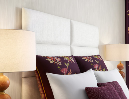 Andissa Pillows, Andissa Drapery, Seurat Pillows, Grand Boulevard Wallcovering Alloy Headboard