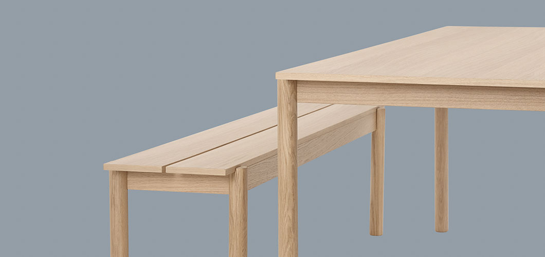 Muuto Linear Wood Table & Bench - Green Detail