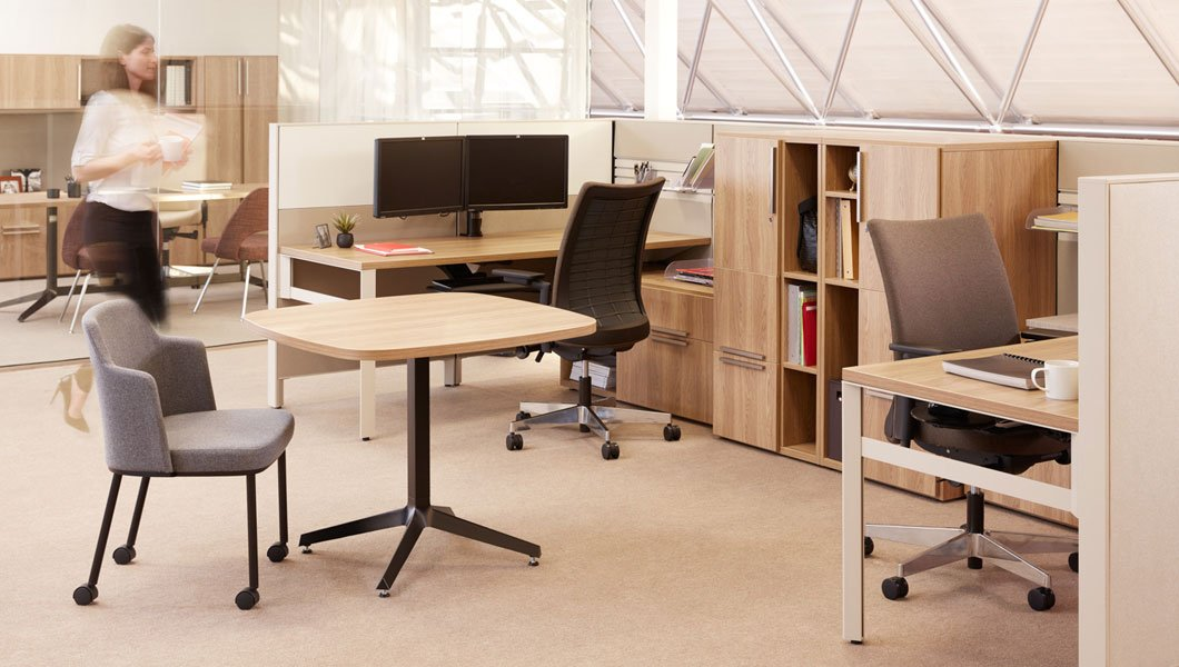 Knoll Open Plan Workstation Furniture with Dividends Horizon and Anchor Stroage