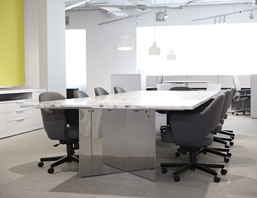 LSM Conference Table with Saarinen Executive Chairs in Haiku upholstery