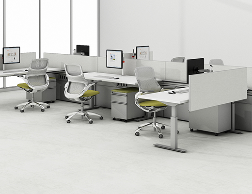 Knoll Sit to Stand Tone Height-Adjustable Table and Technology Wall