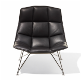 Jehs+Laub tan leather Lounge Chair with polished chrome wire base