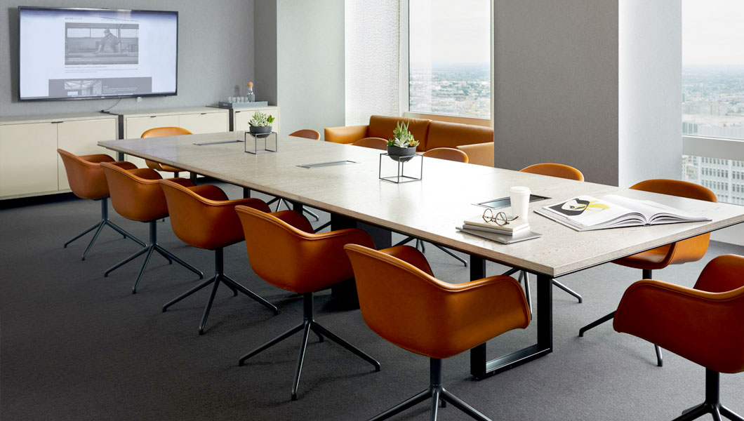 Knoll Shared Spaces Assembly Space Conference Room with DatesWeiser Table and Muuto Seating