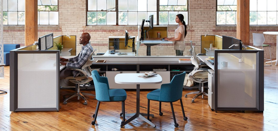 Tone Height Adjustable Sit to Stand Desks and Tables by Antenna Design for Knoll