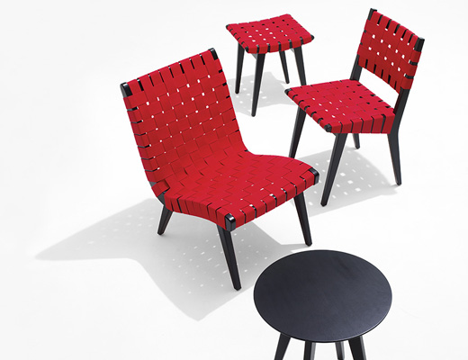 Risom side chair, stool, lounge chair and table in ebonized maple with red webbed seats