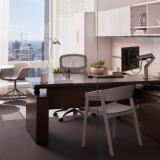 Knoll Reff Profiles private office height adjustable desk Sapper XYZ monitor arm Sparrow light Saarinen dining table Saarinen meeting table Muuto Cover Chair Muuto Fiber Chair swivel base guest seating guest chair accessories private office