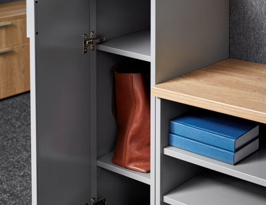 quoin locker interior hinge hinged door open cantilever shelf