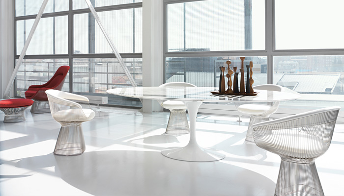 Saarinen Oval Dining Table, Platner Arm Chairs
