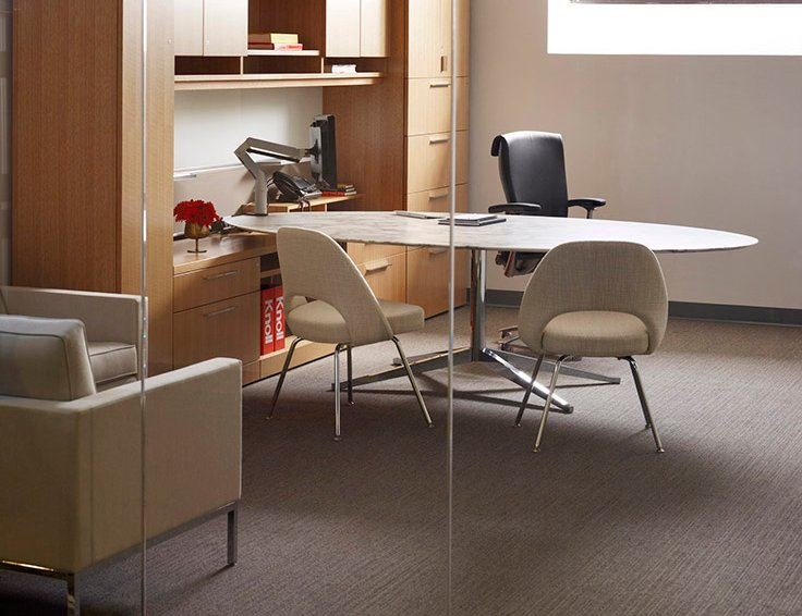 Reff Profiles Private Office Florence Knoll Table Desk Oval Saarinen Executive Armless Chairs Life Chair