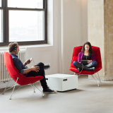 Jehs+Laub red lounge chairs and Power Cube Table