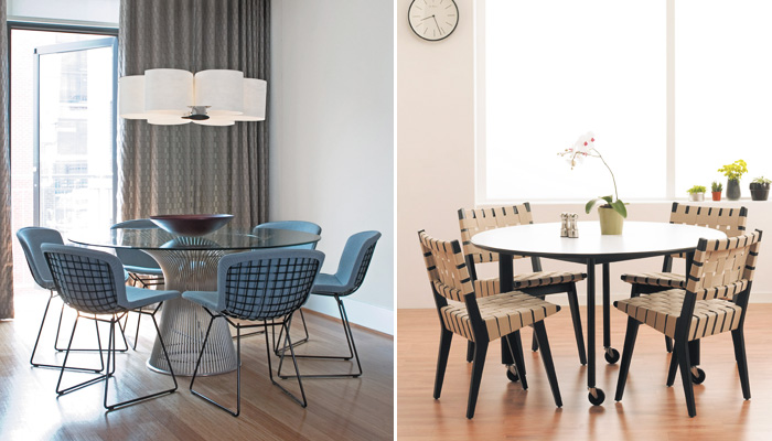 Left: Platner Dining Table, Bertoia Side Chairs