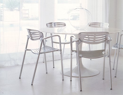 Eero Saarinen marble Dining Table with Toledo side chairs