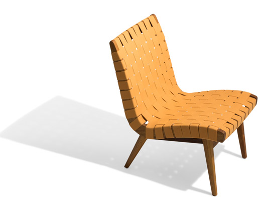 Ochre Sunbrella Webbing Teak Frame Outdoor lounge chair
