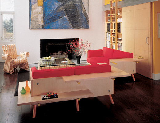 Knoll Stamberg Aferiat Red Salsa Couch