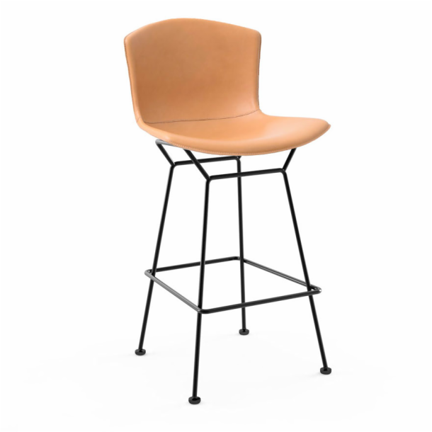 Bertoia Leather‑Covered Barstool
