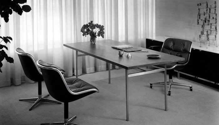 Pioneering private office design. Florence Knoll table desk and credenza with Pollock Chairs.