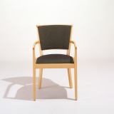 KnollStudio Green Wood Upholstered Vertical Side Chair